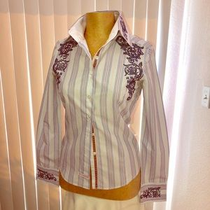 ENGLISH ROSE white blouse shirt broidery silk S